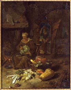 Boereninterieur met een oude vrouw en een groentestilleven