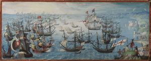 Zeeslag tussen de Engelse vloot en de Spaanse Armada, met de Engelse koningin Elisabeth I en haar troepen als toeschouwers op de rotskust