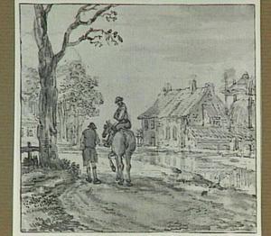 Landschap met figuren bij een kanaal