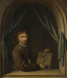 Zelfportret in een vensteropening