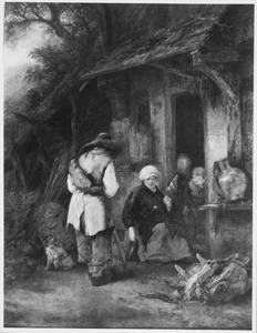 Een reiziger bij een boerenwoning