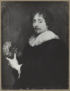 Portret van een onbekende man met een gebeeldhouwd Silenus-kopje in de hand