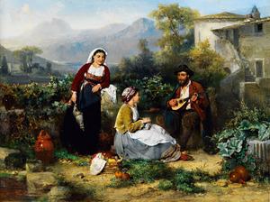 Twee jonge Italiaanse vrouwen luisterend naar een mandolinespeler
