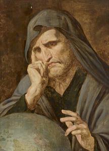 De wenende filosoof Heraclitus met de wereldbol