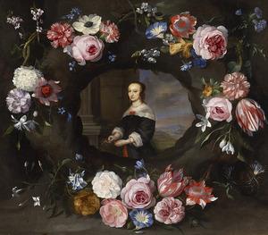 Bloemen rond een cartouche met een portret van een onbekende vrouw