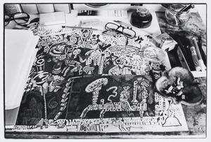 Luceberts schrijftafel  in zijn atelier in Bergen