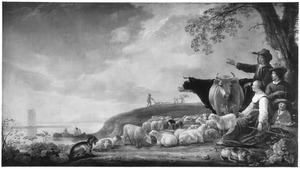 Landschap met vissers en herders met hun vee
