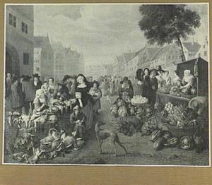 Markt met uitstallingen van gevogelte en groente