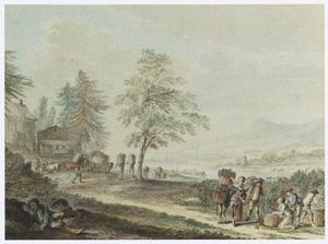 Landschap met druivenoogst (de maand october)
