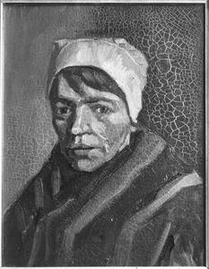 Studie van de kop van een boerenvrouw met een witte muts