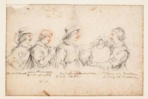 Portretten van Giovanni di Filippo del Campo (ca. 1600-na 1638), Pieter Anthonisz. van Groenewegen (ca. 1600-1658), Joost Campen (?-?) en Simon Ardé (?-1638), leden van de Schildersbent in Rome