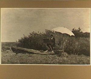 De schilder Gabriël aan het schilderen in een boot