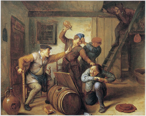 Vechtende boeren in een taverne, ruziënd om valsspel bij