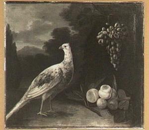 Fazant met druiven, perziken en vijgen in een landschap