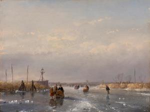Schaatsenrijders op het ijs
