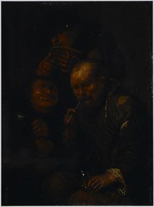 Drie rokende, drinkende en etende boeren