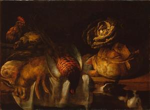 Stilleven met haas, fazant en kippen, rechts een hond