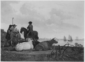 Landschap met herders in gesprek met een ruiter