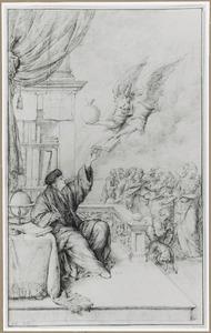 Erasmus in zijn studeerkamer ontvangt een boek van een gevleugelde figuur