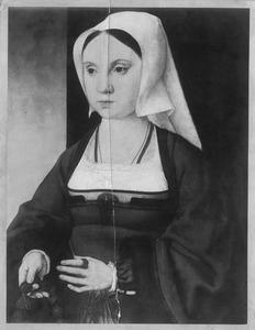 Portret van een jonge vrouw met rozenkrans