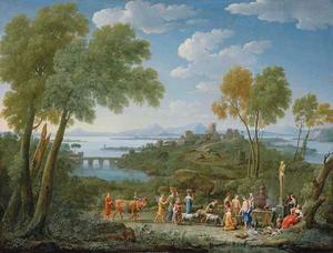Zuidelijk landschap met een offer aan de god Pan (of Priapus?)