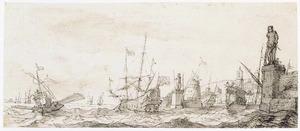Schepen voor de haven van Livorno
