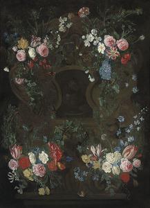 Cartouche-bloemstilleven rondom een Doornenkroningp in grisaille