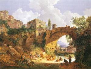 Volksleven aan de Ponte Salaro nabij Rome