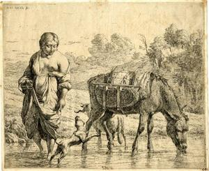 Boerin en pakezel steken een beek over