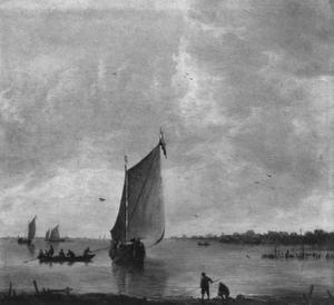 Riviergezicht met in de voorgrond twee vissers