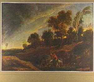 Landschap met vrouw op een boerenkar in een holle weg