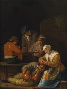 Drinkende mannen en een vrouw die het hoofd van een man ontluist in een herberg
