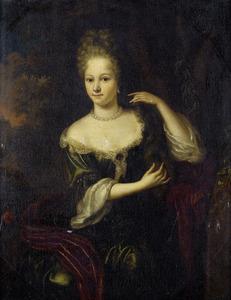 Portret van een onbekende vrouw in groene jurk met rode omslagdoek