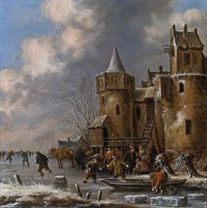Wintergezicht met schaatsers op het ijs onder de stadsmuur
