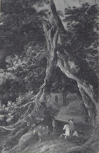 Ruiters onder een boom met gebroken tak