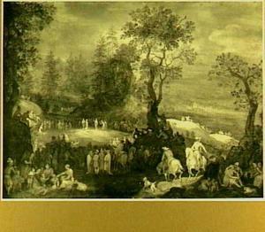 Boslandschap met de prediking van Johannes de Doper