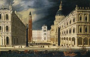 Venetië gezicht op het San Marco plein van de Bacino