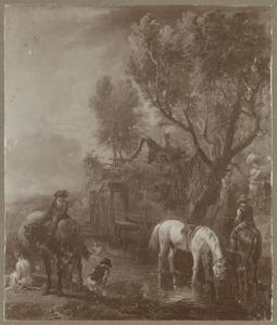 Boeren met paarden bij een sloot