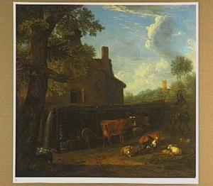 Landschap met vee bij een watermolen