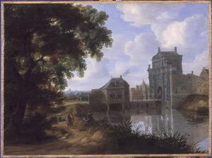Boslandschap met de Porte de Rivage te Brussel (uit 1643); op de voorgrond het kanaal van Willebroek