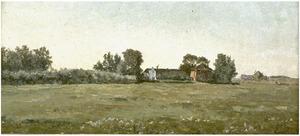 Landschap met twee boerderijen