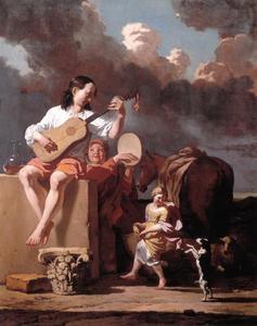 Dansend en musicerend gezelschap in een italianiserend landschap