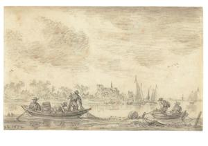 Twee vissersbootjes op een rivier