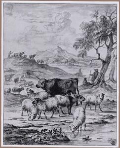 Herders met vee in heuvellandschap