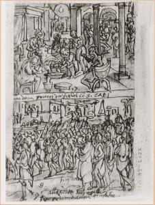 Schetsboekblaadje met twee voorstellingen uit het leven van Apollonius van Tyana