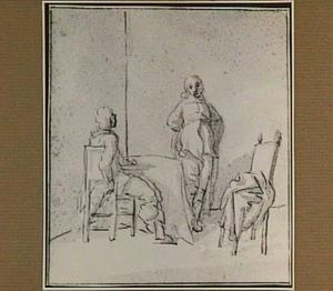 Zittende en staande figuur bij een tafel