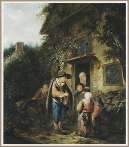 Een rondreizende liereman op een boerenerf bij een open deur