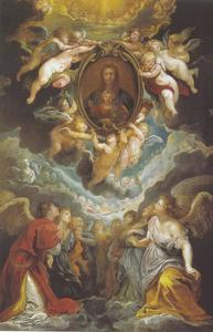De miraculeuze afbeelding van de Madonna van Vallicella door engelen vereerd