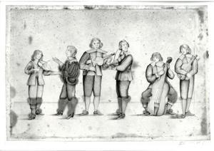 Zes musicerende mannen, waarschijnlijk personen uit de omgeving van de Oranje's of Elizabeth Stuart, de Winterkoningin