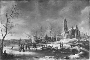 Winterlandschap met de Grote Kerk van Beverwijk